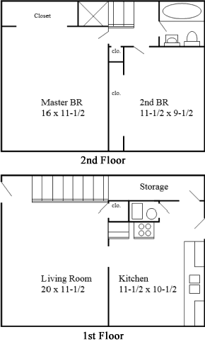 2 bedroom 1.5 bath floor plan